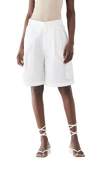 Tibi 复古棉质工装弹性短裤