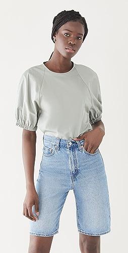 Tibi - Eco Poplin Shirred Sleeve Top