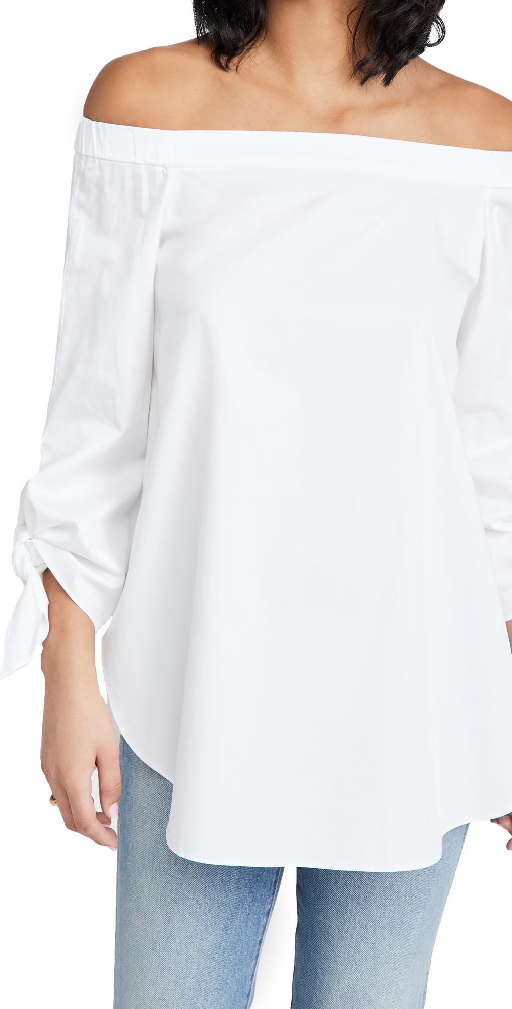 Tibi Off-the-shoulder Satin Poplin Shirt In White