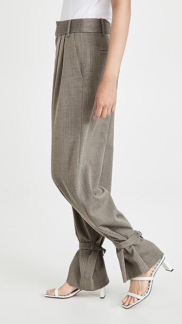 Tibi Stella 可拆卸脚踝纽扣裥褶长裤