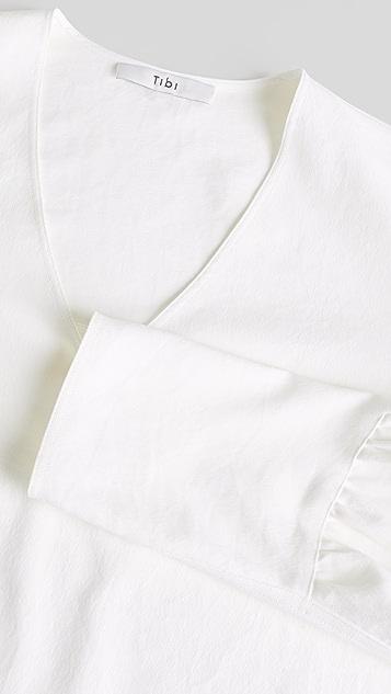 Tibi Chalky 垂褶 V 领长袖上衣