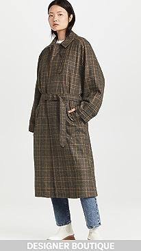 티비 체크 롱 모트 Tibi Grandfather Plaid Frank Coat,Tan/Black Multi