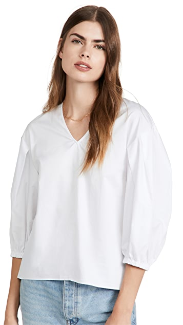 Tibi Eco Poplin V Neck Pleated Sleeve Top