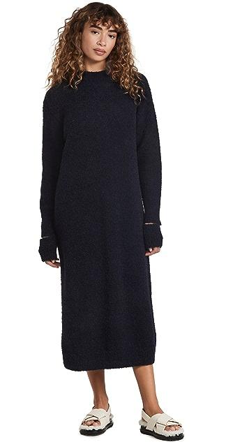 Tibi Alpaca Sweater Slit Cuff Easy Dress