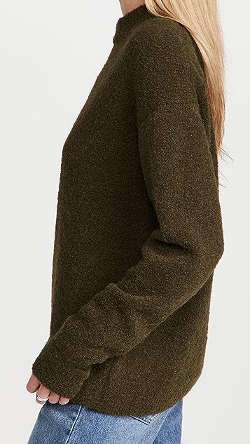 Tibi Alpaca Sweater Slit Cuff Easy Pullover