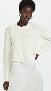Tibi Aran Cable Wool Cutoff Oversized Pullover