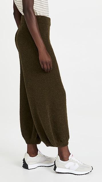 Tibi Boucle Alpaca Sweater Balloon Lounge Pants