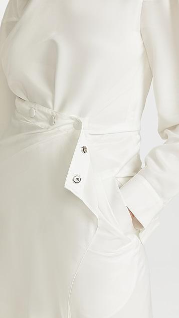 Tibi Fabienne Ecoupe Asymmetric Flap Snap Dress