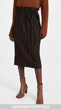 티비 Tibi Holden Stripe Paperbag Skirt,Brown Stripe Multi