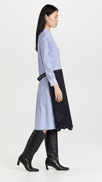 Tibi 圆孔刺绣毛毡羊毛条纹衬衣连衣裙