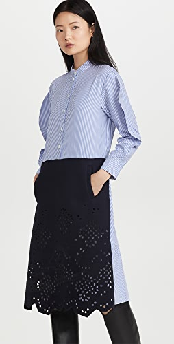 Tibi - Eyelet Embroidery On Felted Wool Striped Shirtdress