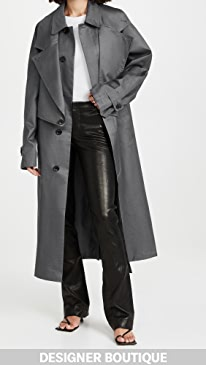 티비 더블 트렌치 코트 Tibi Double Collar Frank Trench Coat,Dark Heather Grey