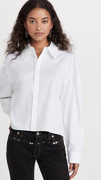 Tibi Miles Scallop Sleeve Cropped Shirt