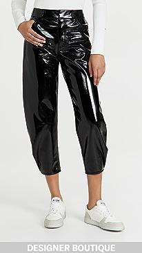 티비 Tibi Faux Patent Leather Sculpted Pants,Black