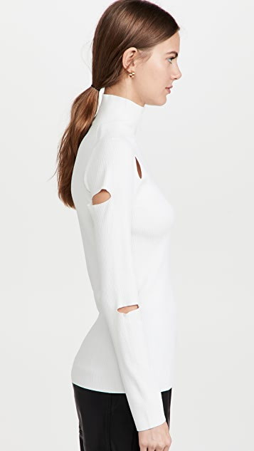 Tibi Giselle Slash Cutout Turtleneck Pullover