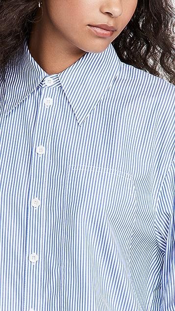 Tibi Scallop Sleeve Upcycle Boyfriend Shirt