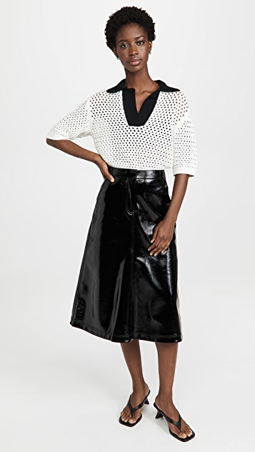 Tibi Faux Patent Leather Maxi A-Line Skirt
