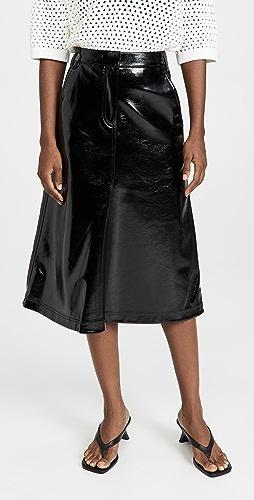 Tibi - 仿漆皮 A 字半身长裙