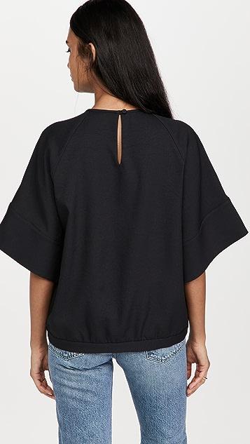 Tibi Chalky Drape Easy Woven Sweatshirt