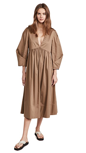 Tibi Eco Poplin V Neck Pleat Sleeve Dress