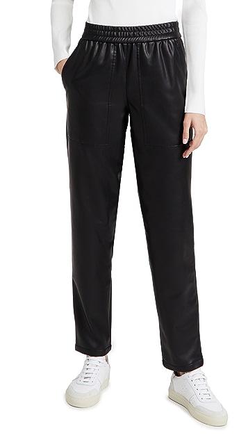 Tibi Vegan Leather Pull On Pants