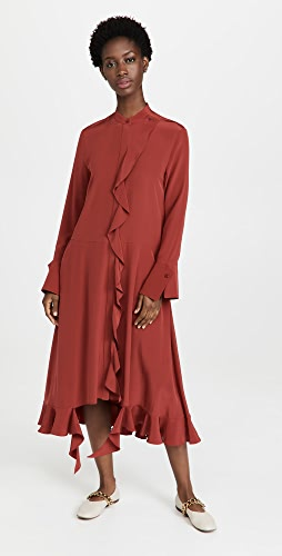 Tibi - Eco Silk Ruffled Shirtdress