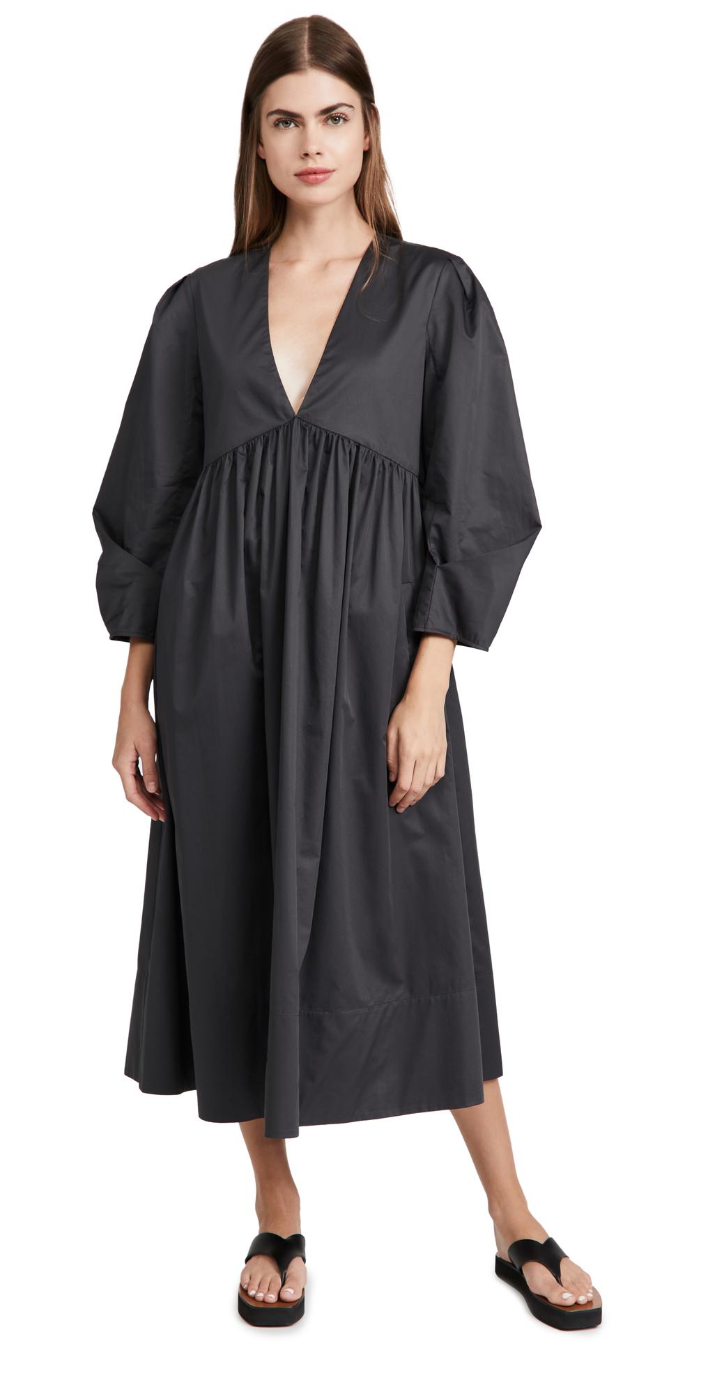 Tibi Eco Poplin Pleat Sleeve Dress