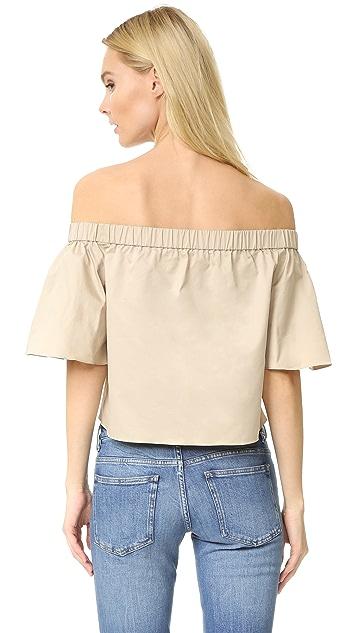 Tibi Off Shoulder Short Sleeve Blouse