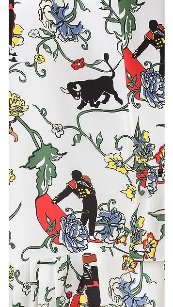 Tibi Seville Print Asymmetrical Ruffle Skirt
