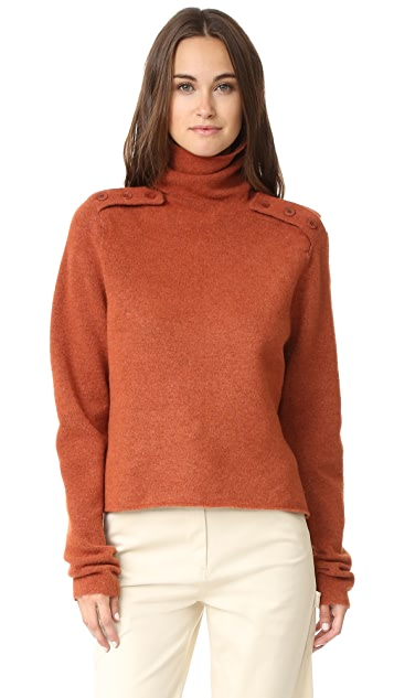 Tibi Boiled Funnel Neck Pullover