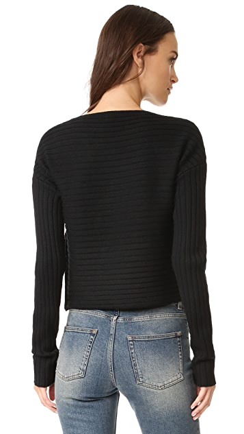 Tibi Merino Ribbed Structured Pullover