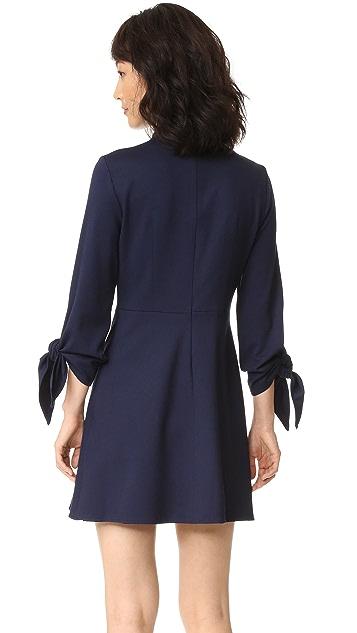 Tibi Bond Stretch Mock Neck Tie Sleeve Dress