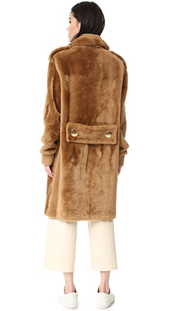 Tibi Shearling Military Coat