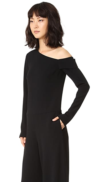 Tibi Asymmetrical Off Shoulder Jumpsuit