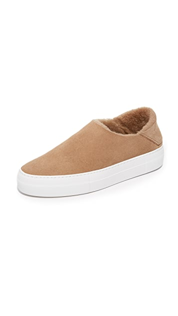 Tibi Charlie Shearling Slip On Sneakers