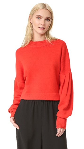 Tibi Pleated Sleeve Cashmere Sweater