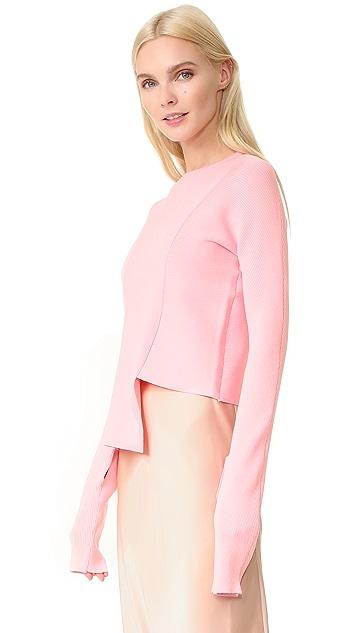 Tibi Asymmetrical Crew Neck Sweater