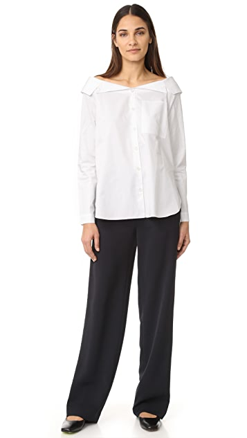 Tibi Notched Off Shoulder Button Down
