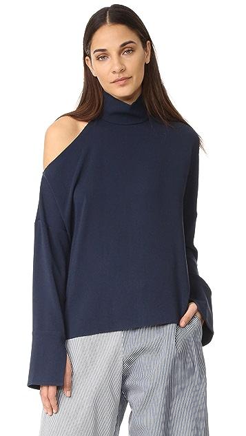Tibi Asymmetrical Cutout Shoulder Top