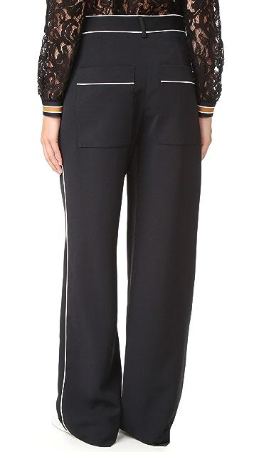 Tibi Wid Leg Pants with Patch Pockets