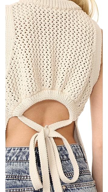 Tibi Tube Yarn Open Back Vest