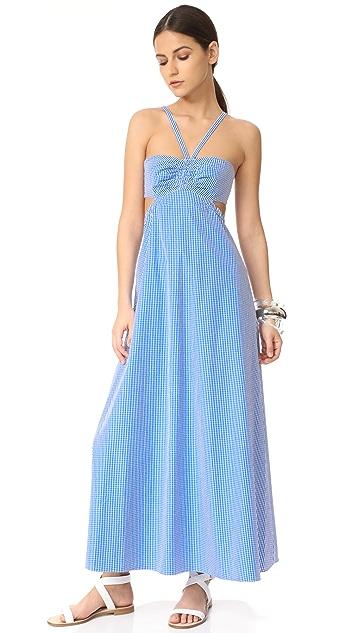 Tibi Gingham Ruched Halter Dress