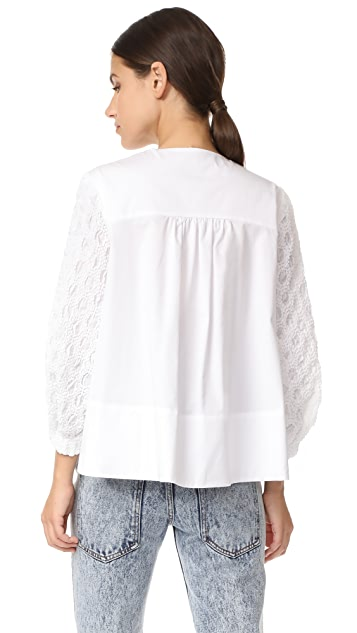 Tibi Smocked Sleeve Trapeze Top