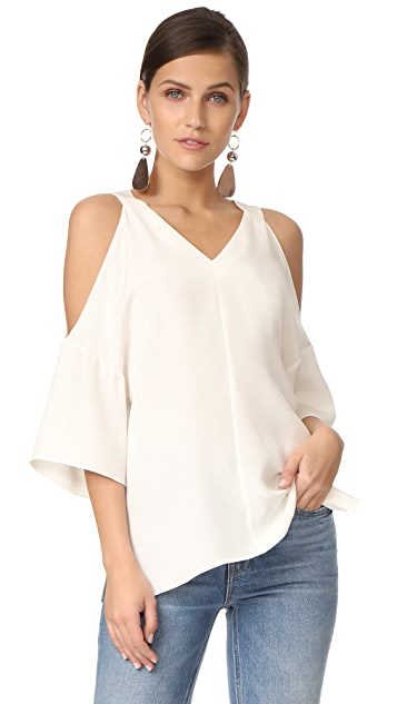 Tibi V Neck Silk Top