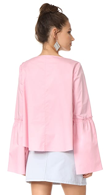 Tibi Bell Sleeve Top