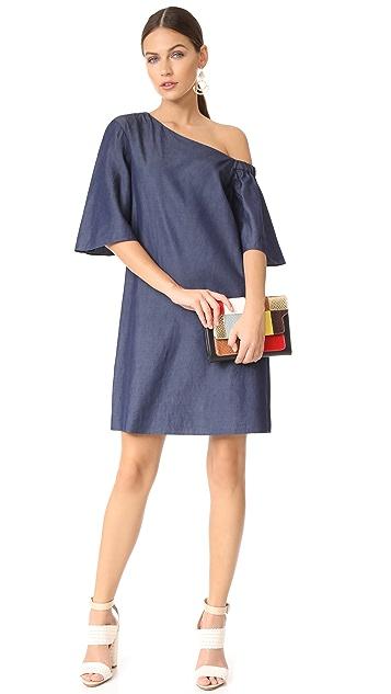 Tibi One Shoulder Bell Sleeve Dress