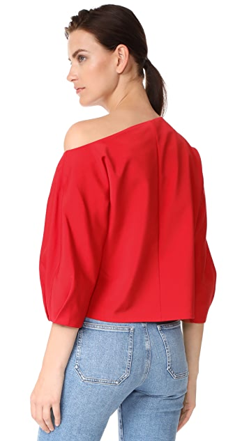 Tibi Sculpted Sleeve One Shoulder Top