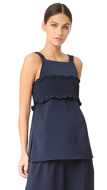 Tibi Smocking Detail Bandeau Strappy Top