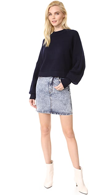 Tibi Acid Wash Denim Miniskirt