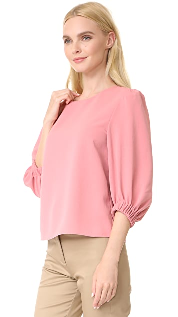 Tibi 3/4 Sleeve Easy Top with Strap Detail